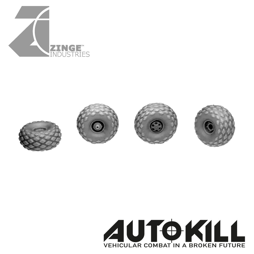 All Terrain Wheels 13mm Diameter - 20mm Scale - Set of 4 Suitable for Autokill and Gaslands games