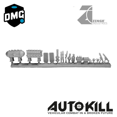 "Small Weapons Designed for AutoKill & Gaslands ""Crash & Burn"" (Range of Crates, Guns and Others) - 20mm Scale"