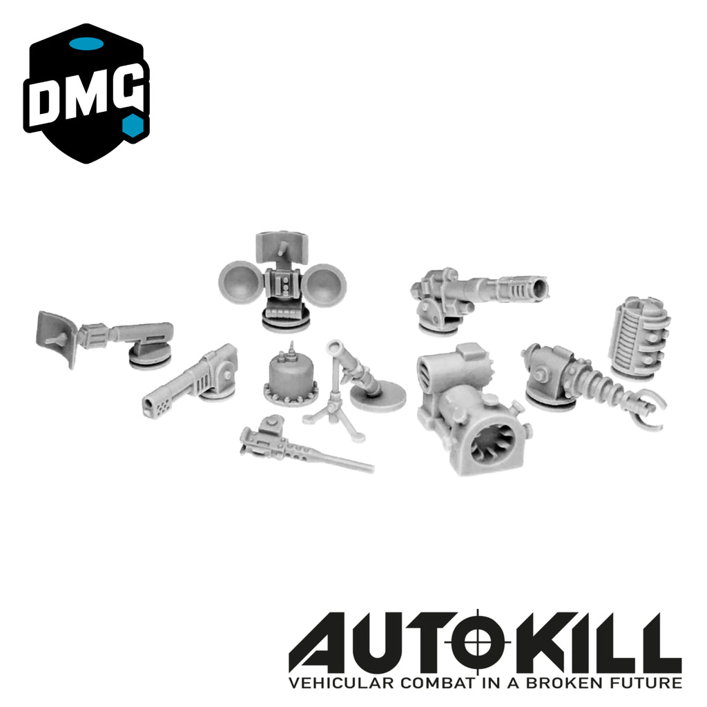 "Large Weapons Designed for AutoKill & Gaslands ""Mad Science"" (Range of Guns, Flame throwers and Others) - 20mm Scale"