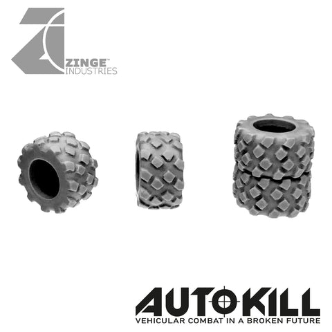 Military Tyres 13mm Diameter - 20mm Scale - Set of 4 - Suitable for Autokill and Gaslands games