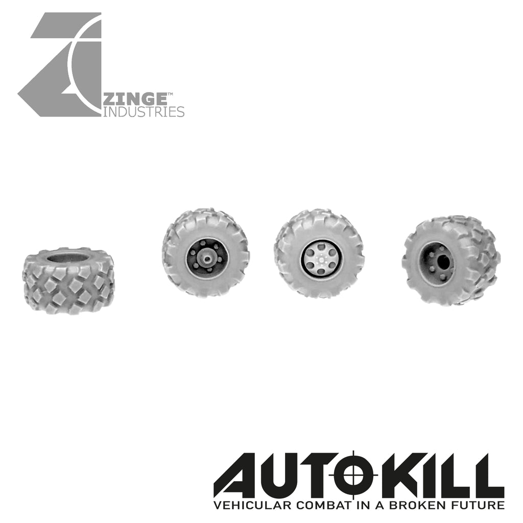 Military Wheels 13mm Diameter - 20mm Scale - Set of 4 - Suitable for Autokill and Gaslands games