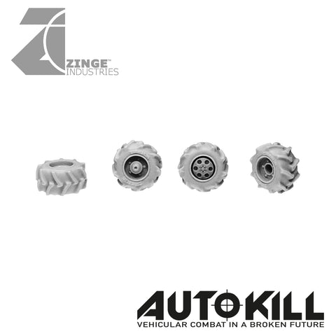 Off Road Wheels 10.5mm Diameter - 20mm Scale - Set of 4 - Suitable for Autokill and Gaslands games