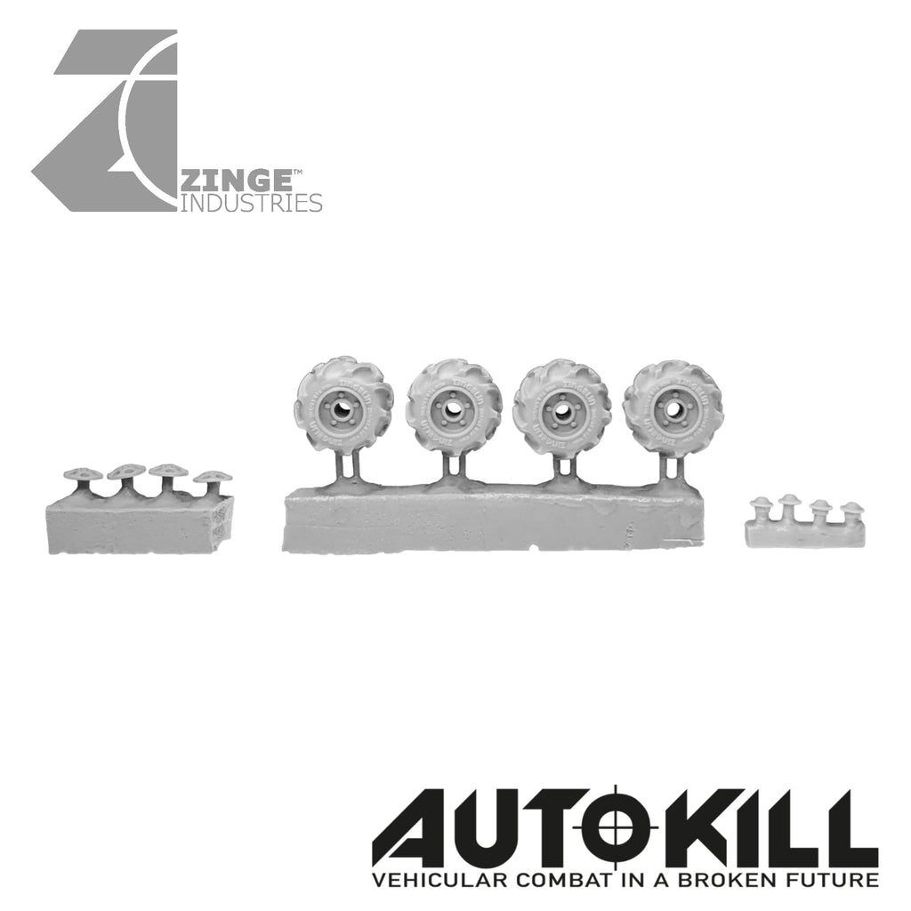Off Road Wheels 13mm Diameter - 20mm Scale - Set of 4 - Suitable for Autokill and Gaslands games