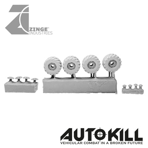 Road Wheels 13mm Diameter - 20mm Scale - Set of 4 - Suitable for Autokill and Gaslands games