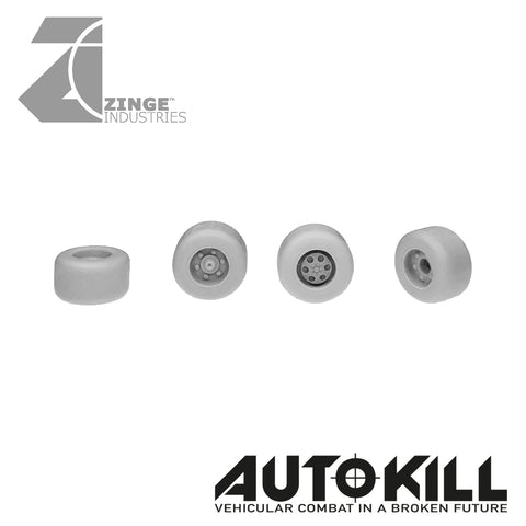 Slick Wheels 10.5mm Diameter - 20mm Scale - Set of 4 - Suitable for Autokill and Gaslands games