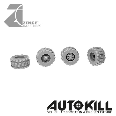 Road Wheels 10.5mm Diameter - 20mm Scale - Set of 4 - Suitable for Autokill and Gaslands games