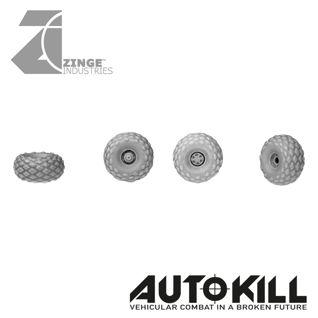 All Terrain Wheels 10.5mm Diameter - 20mm Scale - Set of 4 Suitable for Autokill and Gaslands games
