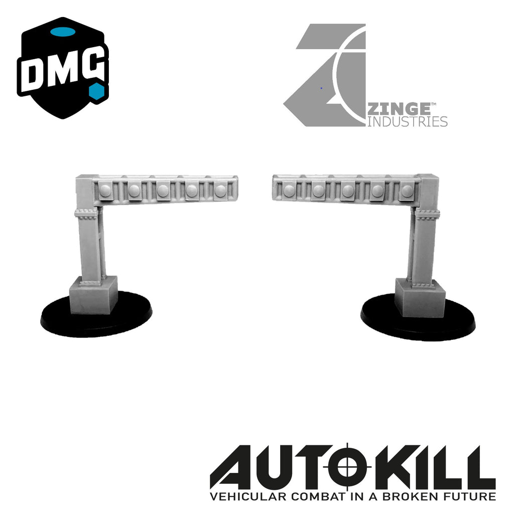 AutoKill or Gaslands Race Posts - Traffic Light Posts  x2 - 20mm Scale
