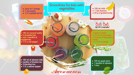 Awesome kids smoothies with added vegetables
