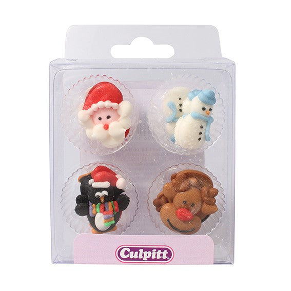 Christmas Sugar Piping Edible Cake Decoration 12 pack