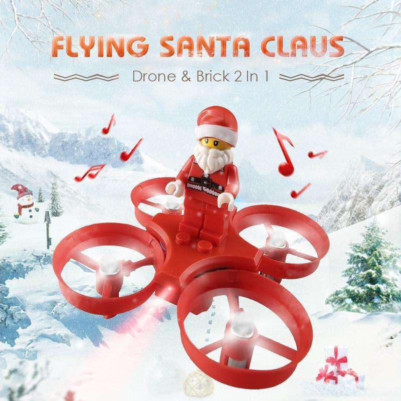 in stock flying santa claus with christmas songs music toy brick rc quadcopter rtf for kids gift - Kids Christmas Songs