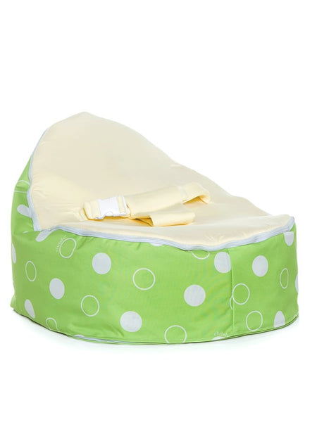 Chibebe Green Polka Style Baby Bean Bag with Blue Baby Seat