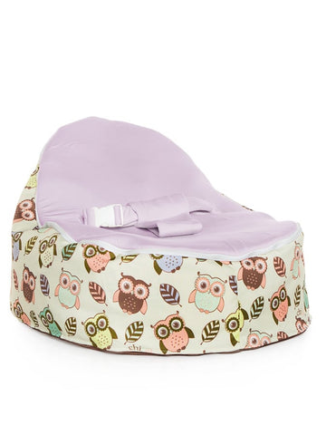 Chibebe Hoot Style Baby Bean Bag with Purple Baby Seat