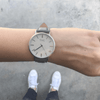 Silver Vegan Watch and Grey Stitched Vegan Leather Band