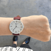 Silver Vegan Watch and Burgundy Stitched Vegan Leather Band