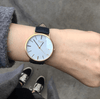 Gold Vegan Watch and Navy Stitched Vegan Leather Band
