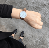 Rose Gold Vegan Watch Tan Stitched Vegan Leather Band