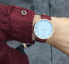 Gold Vegan Watch and Burgundy Stitched Vegan Leather Band