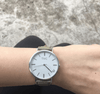 Silver Vegan Watch and Khaki Stitched Vegan Leather Band