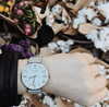Silver Vegan Watch and Grey Suede Stitched Vegan Band