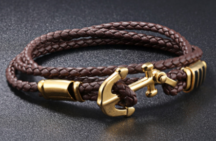 The Gold Anchor Brown Leather