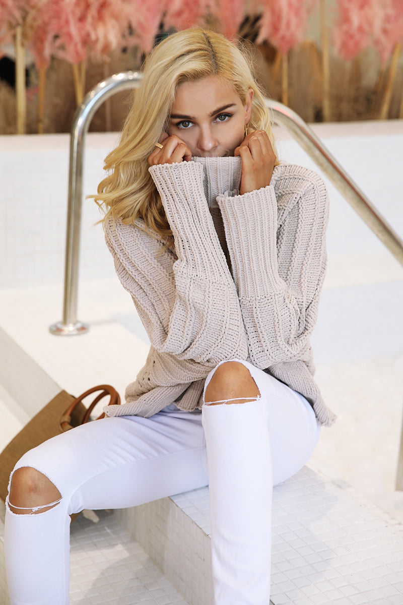 Belle Turtleneck knitted pullover sweater