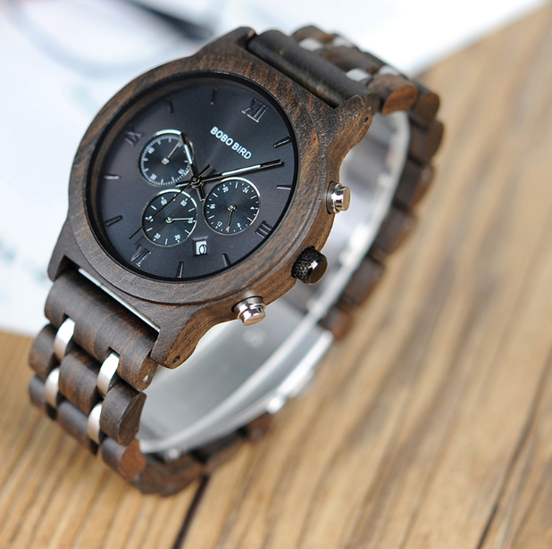 Vercity relogio masculino Wood Metal Strap Chronograph