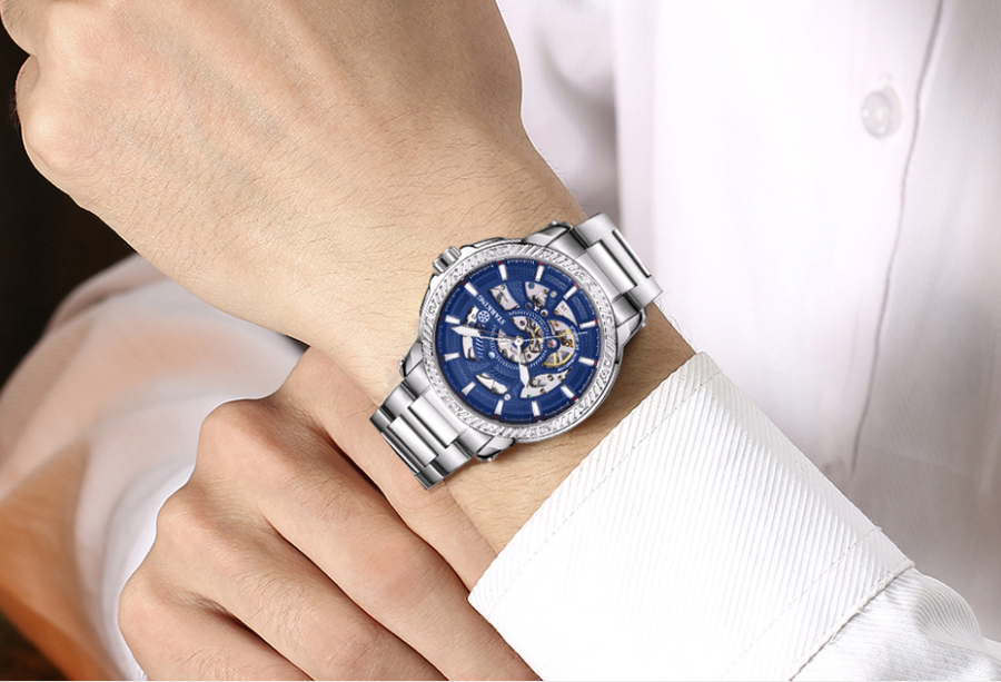 Sanctuary Watches - SK Swiss Automatic Tornado Brilliant Blue  Mechanical Skeleton Watch