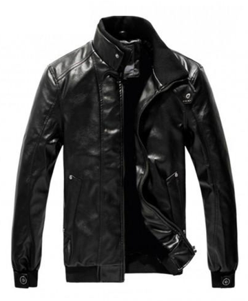 Jaqueta High Quality Leather Collar Jacket