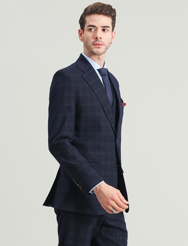 Oxford Blue Lattice Blazer, Vest & pants (3 piece outfit)