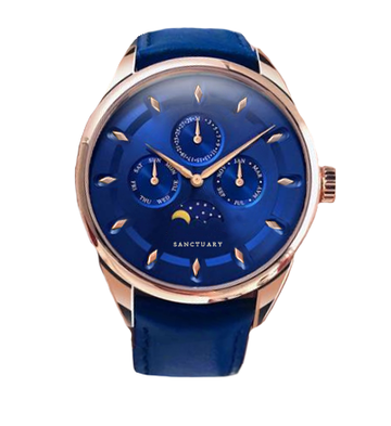 The Capri - Blue & Rose Gold Moonphase Chronograph