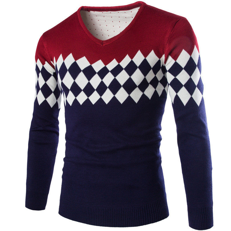 V-Neck Warm Diamond Slim Fit Sweater Jumper