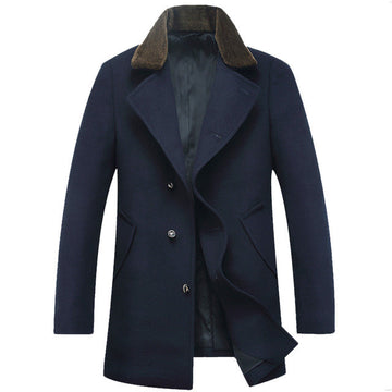 HG Buttoned Coat With Neck Woolen Fur