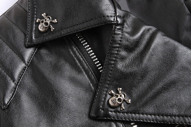 HG Black Pilot Leather Motorcycle Psuedo Bomber Jacket