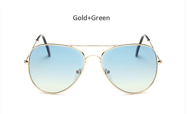 The One Gradient Gold-Green Aviator Sunglasses