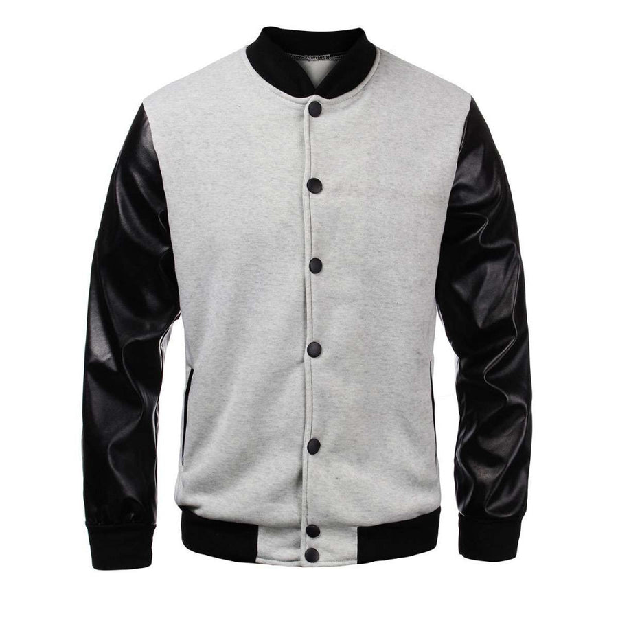 Black Sleeved Varsity Bomber Jacket