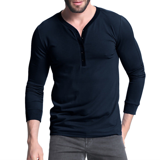 Long Sleeve T-shirt V Neck Tee Top Button Placket