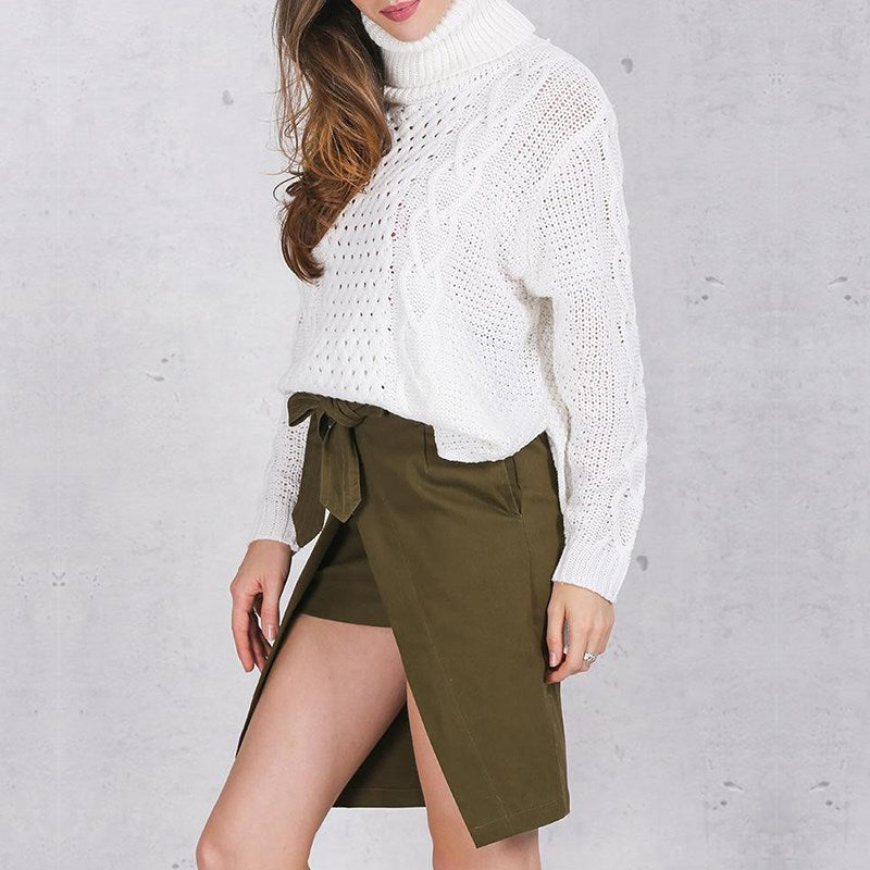 Winter Knitted Twist  Pullover Turtleneck Long Sleeve Jumper
