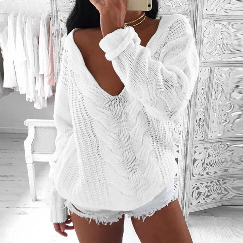 Autumn V  Neck Long Sleeve Loose Casual Pullover One Shoulder White Knitting Jumper