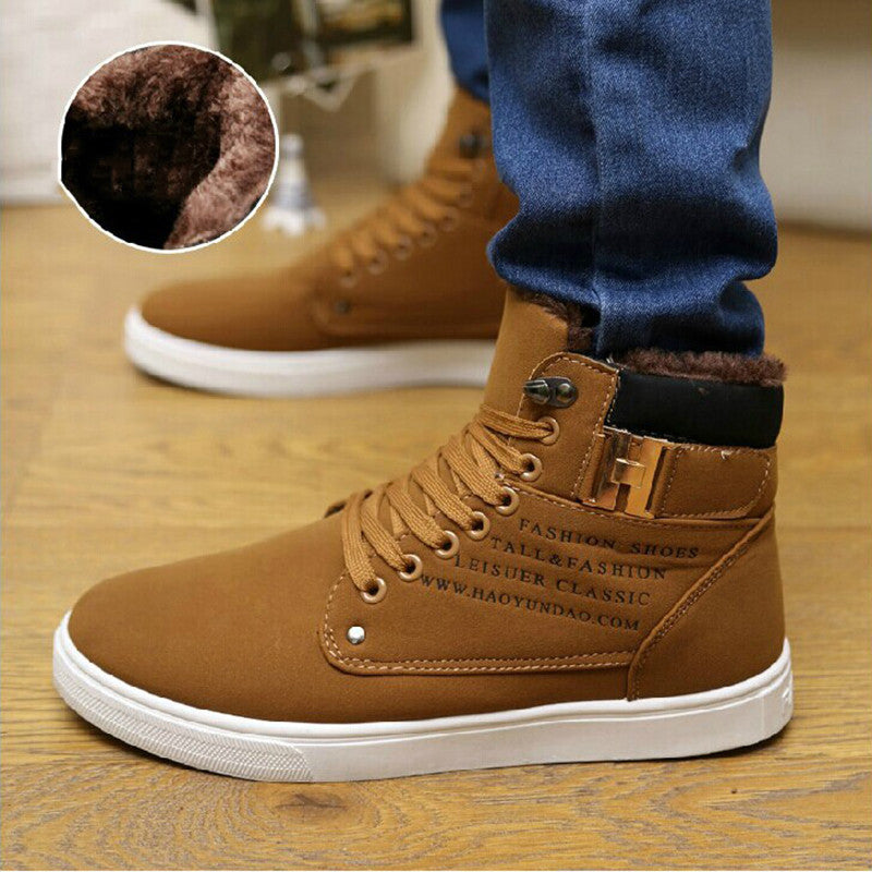 Highend Winter Men Boots  Ankle Boots with Thick Fur Snow Shoes