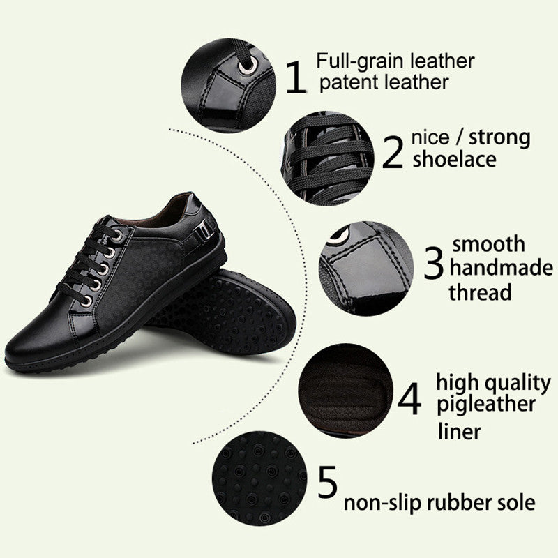 The Suited casual shoes black lace up genuine leather casual