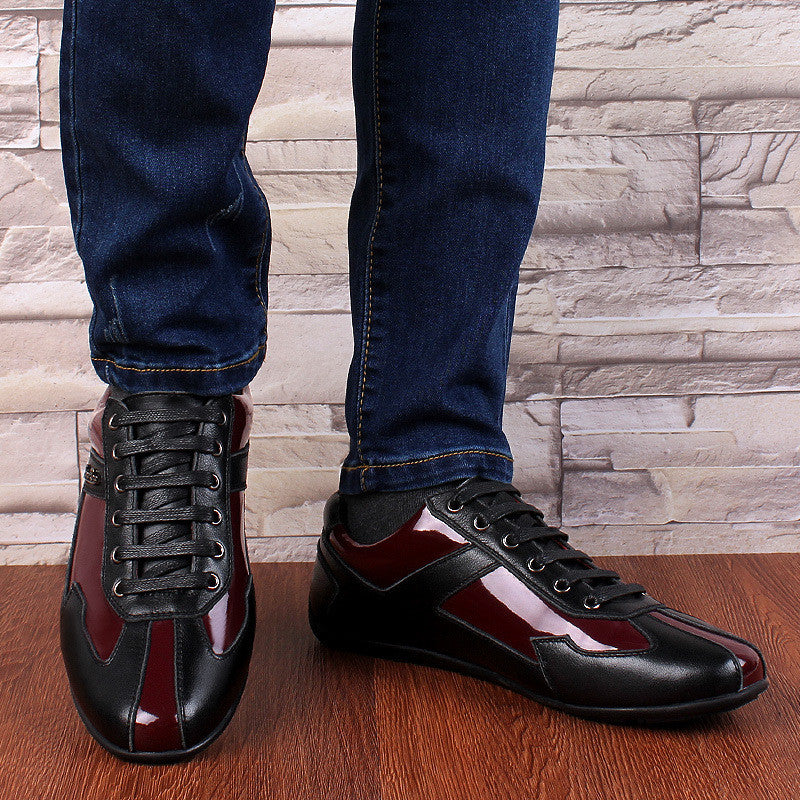 Neveture Red-Black Genuine Leather Men Smart Casual Shoes