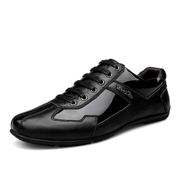 Neveture Black Genuine Leather Men Smart Casual Shoes