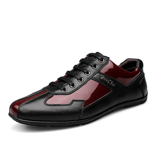Neveture Red-Black Genuine Leather Men Smart Casual Shoes ... 947a52000