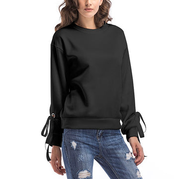 Autumn Winter Hoodies Sweatshirt Long Sleeve Lace Up Bow