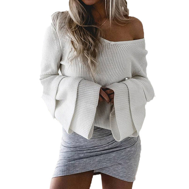 V Neck Flare Sleeve Knited Pullover Jumper