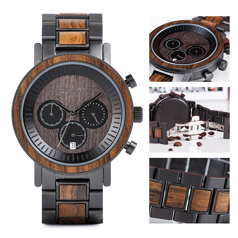 Frank Dark Stainless Steel Wooden Watch Chronograph