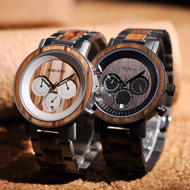 Frank Tan Stainless Steel Wooden Watch Chronograph