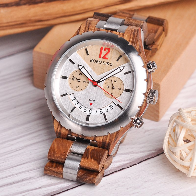 Elegant Silver Wooden Waterproof SEIKO Movement