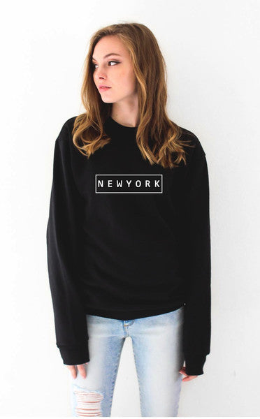 NEW YORK  letter Pullover  Sweatshirt  Jumper